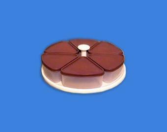 Vintage Tupperware Pie Carousel Pie Slice Keeper Lazy Susan Brown Lids Mid Century, Rare