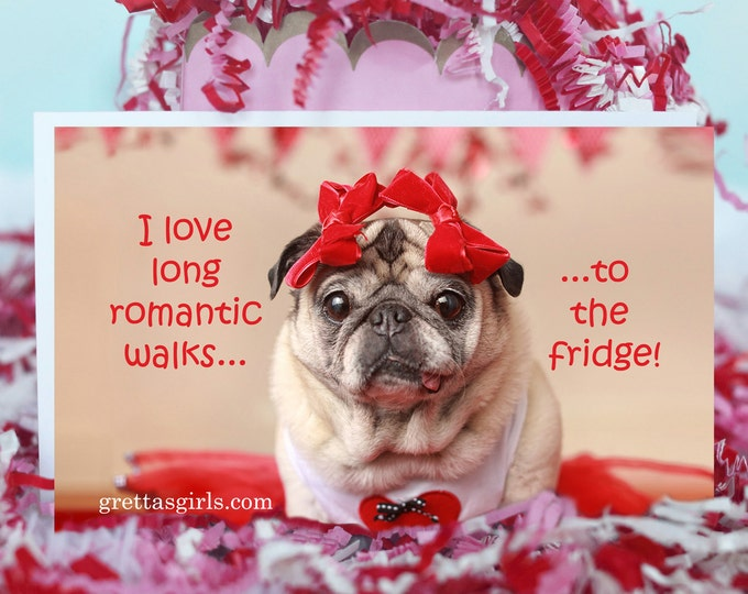 Pug Magnet - I Love Long Romantic Walks - 4 x 6 Pug magnet - by Pugs and Kisses