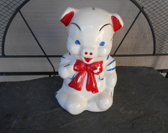 American Bisque Red Tie Pig Bank