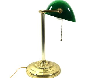 """Vintage Banker's Lamp with Green Cased Glass Shade and Brass Metal Base, 14"""" Tall Working Electric Desk Lamp"""