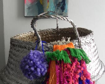 basket ball, basket Thais, silver, PomPoms and weaving
