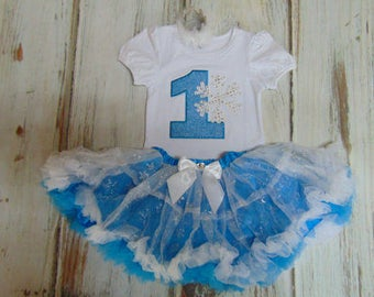 Frozen First Birthday Dress- Cute Frozen Outfit Personalized Age 1-Matching Tiara included-3 piece set