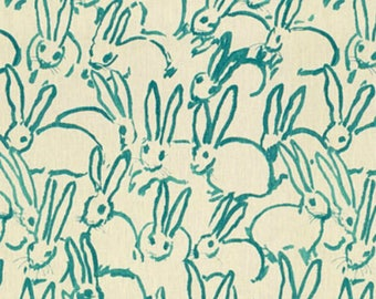 Groundworks -Hunt Slonem - Bunny Hutch-Turquoise - Pillow Covers,  Fabric By The Yard