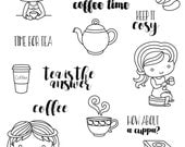 Teatime clear stamp set - decorative planner stamps suitable for any planner