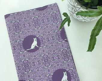 Shepherd Dog Tea Towel -  Shepherd dog dish cloth, kitchen gift - in Purple and White
