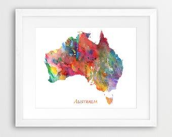 Australia Map Print, Australia Map Decor, Australia Wall Art, Australia Watercolor Map Poster, Home Office Decor, Travel Gift, Printable Art