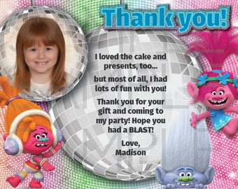 Trolls Birthday Thank You, Disco, 5x7, 4x6, DIGITAL file