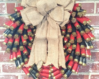 Red and Black Shotgun shell wreath