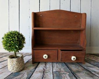 Vintage Spice Rack, English Wall Shelf, Wall Rack, Kitchen Shelf Rack, Shelf and Cubbies