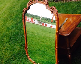 French mirror/ carved Mirror/ Wood mirror