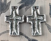 Crosses, Handmade Pewter Charms, Handcrafted, Craft Jewelry Supplies No. 559CP