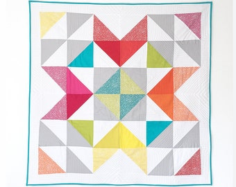 Modern Baby Quilt Spotty Rainbow Star Patchwork Blanket Snuggle quilt baby shower gift