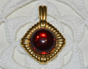 Vintage KJL Pendant With Interchangeable Red Cabochon