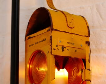 Yellow Vintage Urban Upcycled Industrial Road Workers / Railway Signalling Candle Holder Lantern