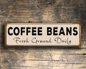 COFFEE BEANS SIGN, Coffee Beans Signs, Vintage Style Coffee Beans Sign, Cafe Sign, Coffee Sign, Cafe Signs, Coffee Decor, Fresh Ground Daily