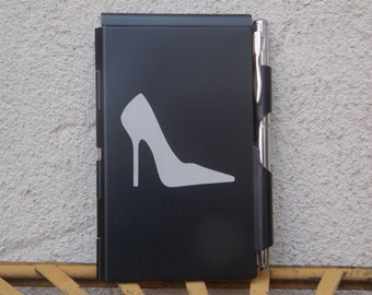 Ultra Thin Metal Notepad Holder with Pen, Black and White, High Heel Shoe, Excellent Party Favor