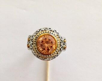 Vintage Amber Round Cut Ring