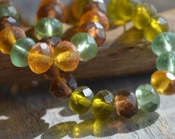 10 Matte Fall Mix Czech Beads- 8x6mm Faceted Rondelles- Autumn Meadow (710-10)
