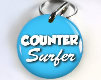 Funny Blue Dog ID Tag Pet id tags Unique pet tags Personalized Counter Surfer