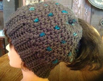 Ponytail Hat, Slouchy Ponytail Hat, Messy Hair Hat, Messy Bun Hat, Women's Teen Girls Crouchet Slouchy Ponytail Hat