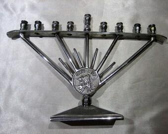 Vintage Silver Tone Mordernist Judaica Hanukkah Menorah Made in Israel