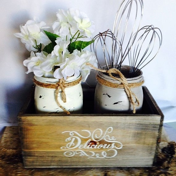 Rustic mason jar kitchen decor mason jar centerpiece for Kitchen jar decoration