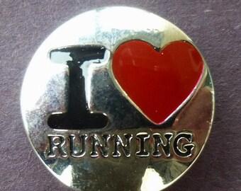 KC5207  I Love Running Silver Plated Enamel Snap
