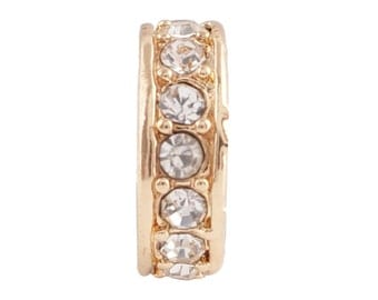 LM1865G ~ Very Pretty Gold Tone and Crystal Charm for Wrap Charm Bracelets