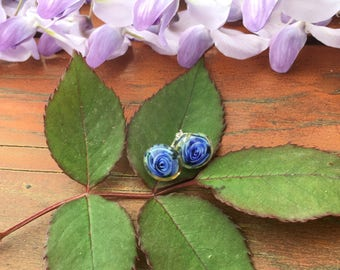 MTO 1 pair blue rose lampwork earrings /925 silver /flowers/  Studs / Garden /