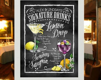 "Extra Large Cocktail Sign - 18x24"" Poster - Designed to your Specifications - Personalized Party Decoration for Weddings, Functions UNFRAMED"