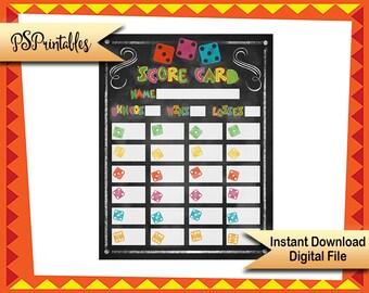 Printable Bunco Score Sheets, Fiesta bunko game score cards, fiesta party dice games, printable score cards, Fiesta party, fiesta birthday