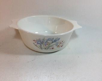 Vintage Pyrex England Blue Iris Casserole Dish, 3/4 Quart