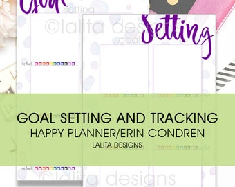 Goal Setting and Monthly Check Tracking Printable Insert for use with Happy Planner and Erin Condren LIFEPLANNER™