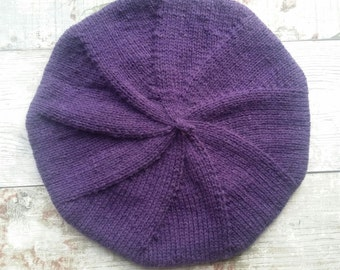 Knitted Beret - Knitted Tam - Purple Hand Knitted Beret - Merino Blend