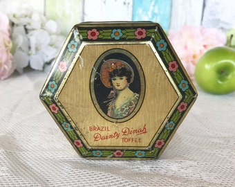 Lovely Antique Dainty Dinah Tin litho box, Art Deco Vintage Advertising, Horner Toffee, floral dresser box, vanity, trinket, storage