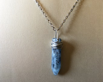 Blue Kyanite Bullet carved wire wrapped handmade Necklace
