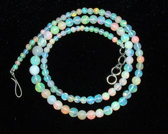 Natural Round Ball Ethiopian Welo Opal Necklace! Play Of Colors! Adjustable~Fast Ship