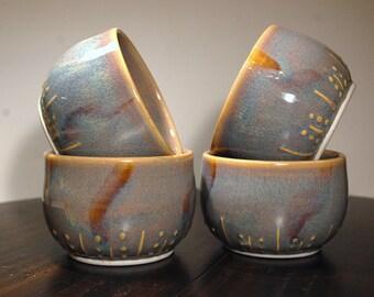 Handmade porcelain  blue prep bowls, yogurt breakfast cereal bowls, small soup bowls, ice cream bowls, ceramic bowls, rustic