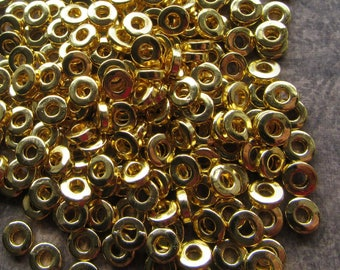 100 x Bright Gold Metal Spacer Beads. Heishi, Flat Round, 6x2mm, Hole 2.5mm Small Washer