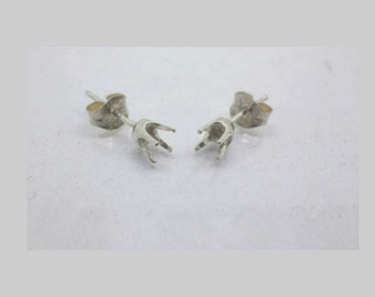 1.6mm - 6 mm Rd 4-Prong Classic Pre-Notched Sterling Silver Earring Setting ( 1 Pair )