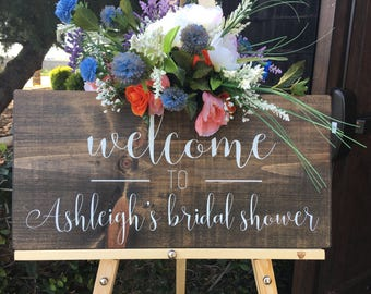 "Bridal Shower Sign, Bridal Shower Welcome Sign, Wood Signs,  Bridal Shower Decoration, Rustic Signs. Wood Welcome Sign - (23"" x 11"")"