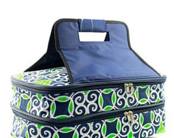 I Kat/Anchor/geometric  Insulated Casserole Carrier WITH FREE MONOGRAM