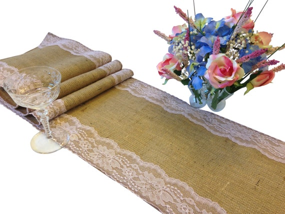 Burlap table runner pink lace 16 30 ft 12 width lace for 12 ft table runner