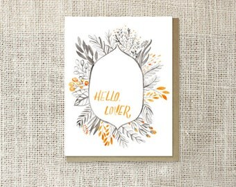Hello Lover Blank Greeting Card, Modern Note Card, Illustrated Stationery, Orange and Grey, Romantic Card for Him, Cards for Men