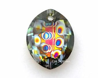6734 PEACOCK EYE 23mm Swarovski Crystal Pure Leaf Pendant RARE