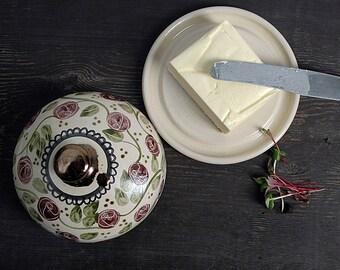 Butter keeper, butter dish, pottery butter dish, purple rose butter dish