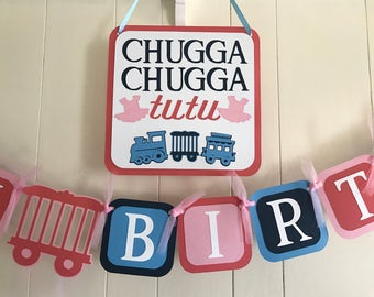 Choo choo and Tutu twin birthday party package/ choo choos and tutus party