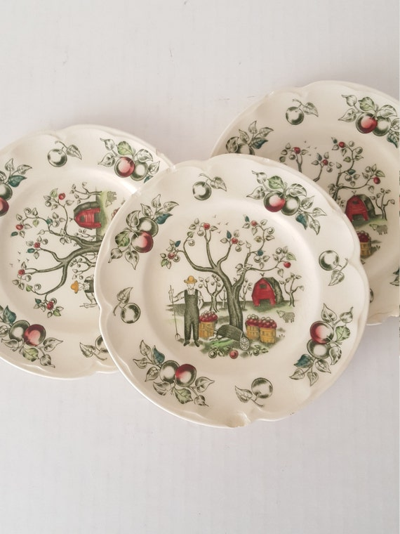 Vintage chipped china 4pcbread dessert plate ironstone for for Craft ideas for old dishes