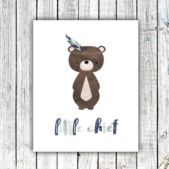Boy's Nursery Art Printable, Little Chief, Bear, Tribal, Baby Boy, Mint, Grey, Navy, Digital Download Size 8x10 #623