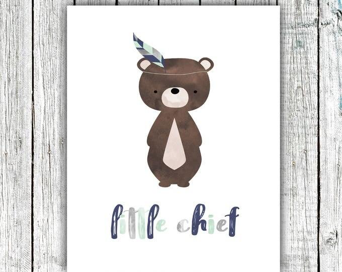 Boy's Nursery Art Printable, Little Chief, Bear, Tribal, Baby Boy, Mint, Grey, Navy, Digital Download Size 8x10 #623